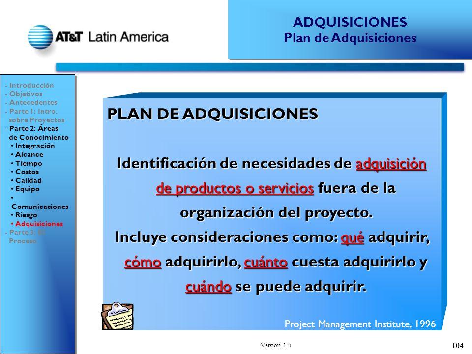 ADQUISICIONES Plan de Adquisiciones. - Introducción. - Objetivos. - Antecedentes. - Parte 1: Intro.