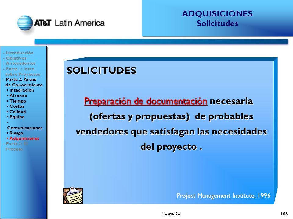 ADQUISICIONES Solicitudes. - Introducción. - Objetivos. - Antecedentes. - Parte 1: Intro. sobre Proyectos.
