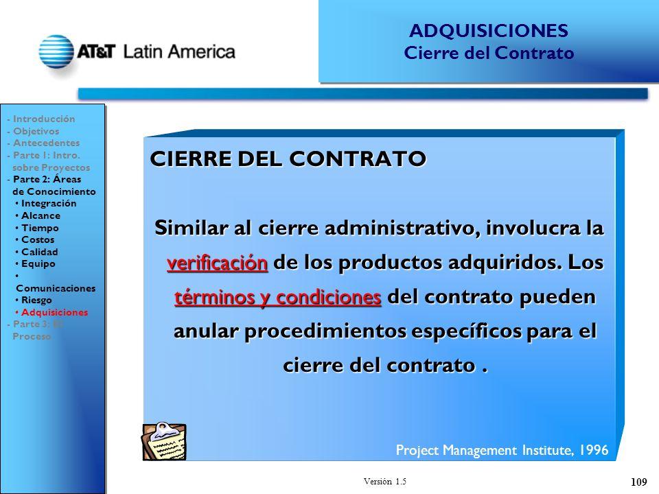 ADQUISICIONES Cierre del Contrato. - Introducción. - Objetivos. - Antecedentes. - Parte 1: Intro.