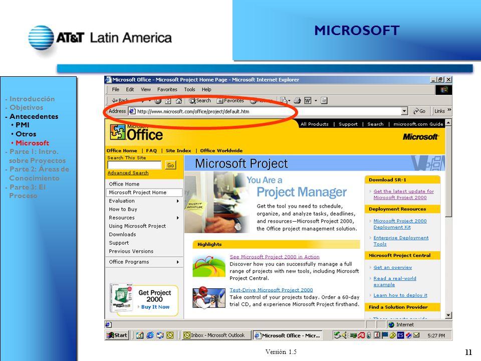 MICROSOFT - Introducción - Objetivos - Antecedentes PMI Otros