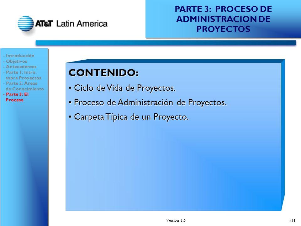 PARTE 3: PROCESO DE ADMINISTRACION DE PROYECTOS