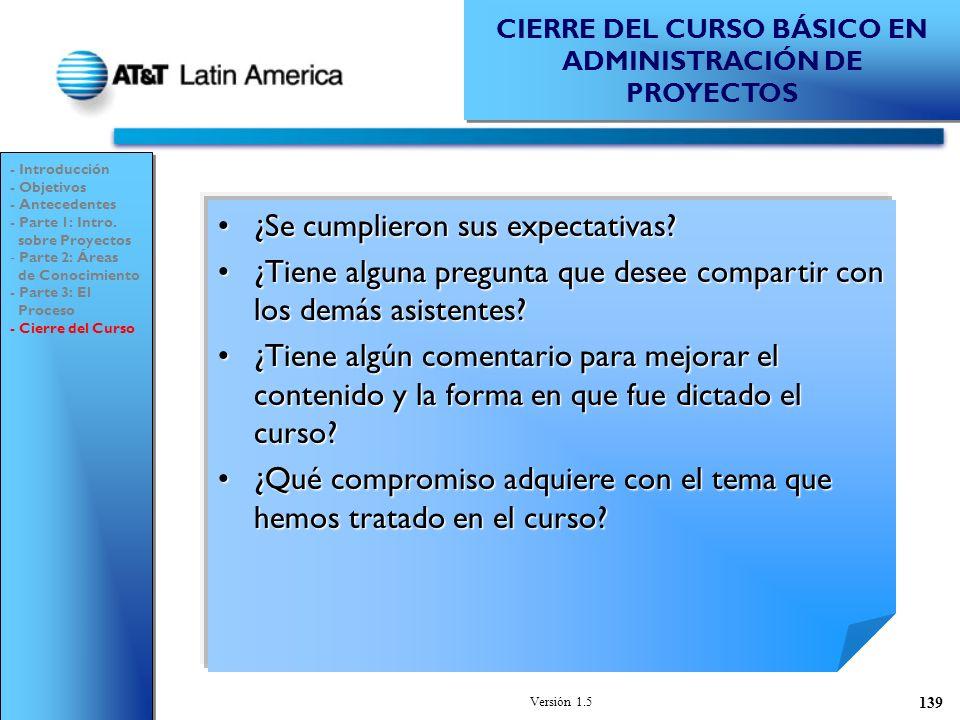 CIERRE DEL CURSO BÁSICO EN ADMINISTRACIÓN DE PROYECTOS