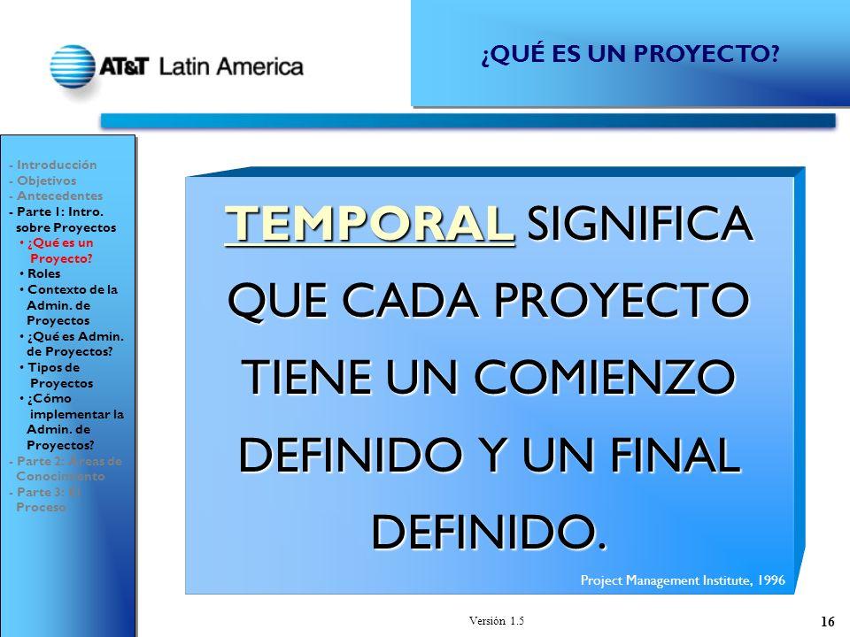 ¿QUÉ ES UN PROYECTO - Introducción. - Objetivos. - Antecedentes. - Parte 1: Intro. sobre Proyectos.