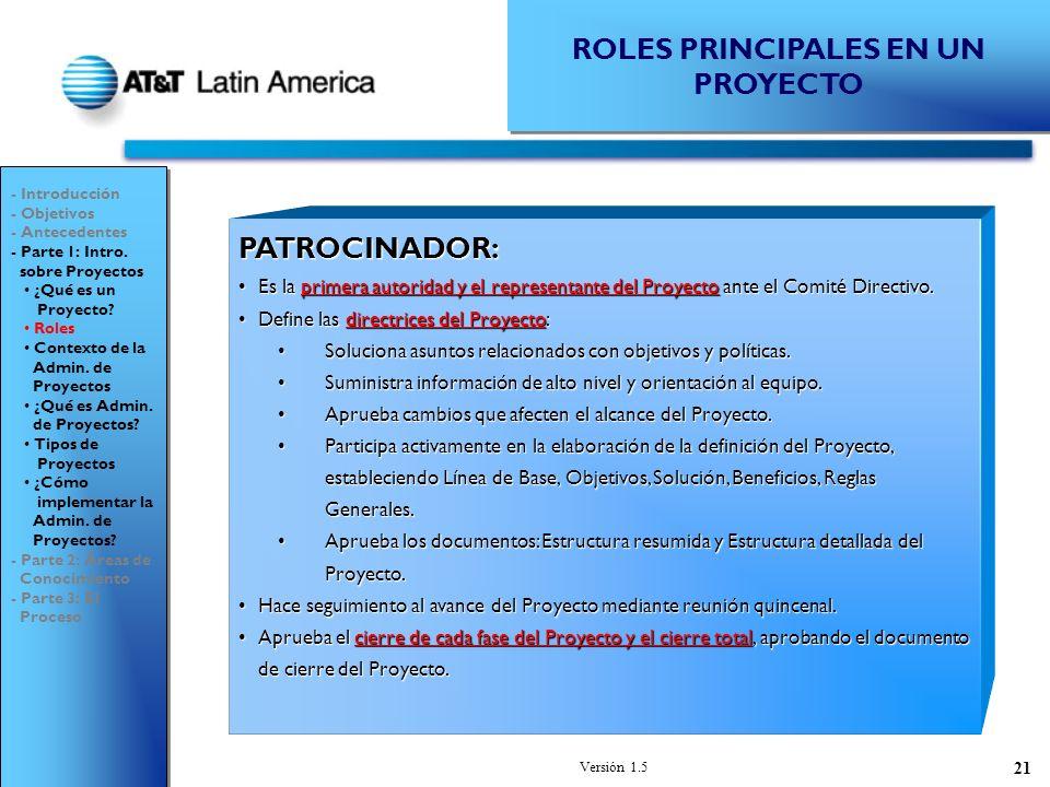 ROLES PRINCIPALES EN UN PROYECTO