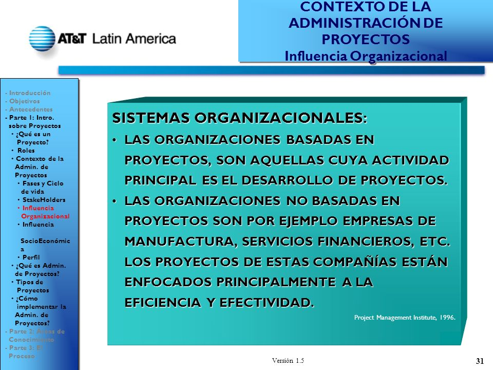 CONTEXTO DE LA ADMINISTRACIÓN DE PROYECTOS Influencia Organizacional