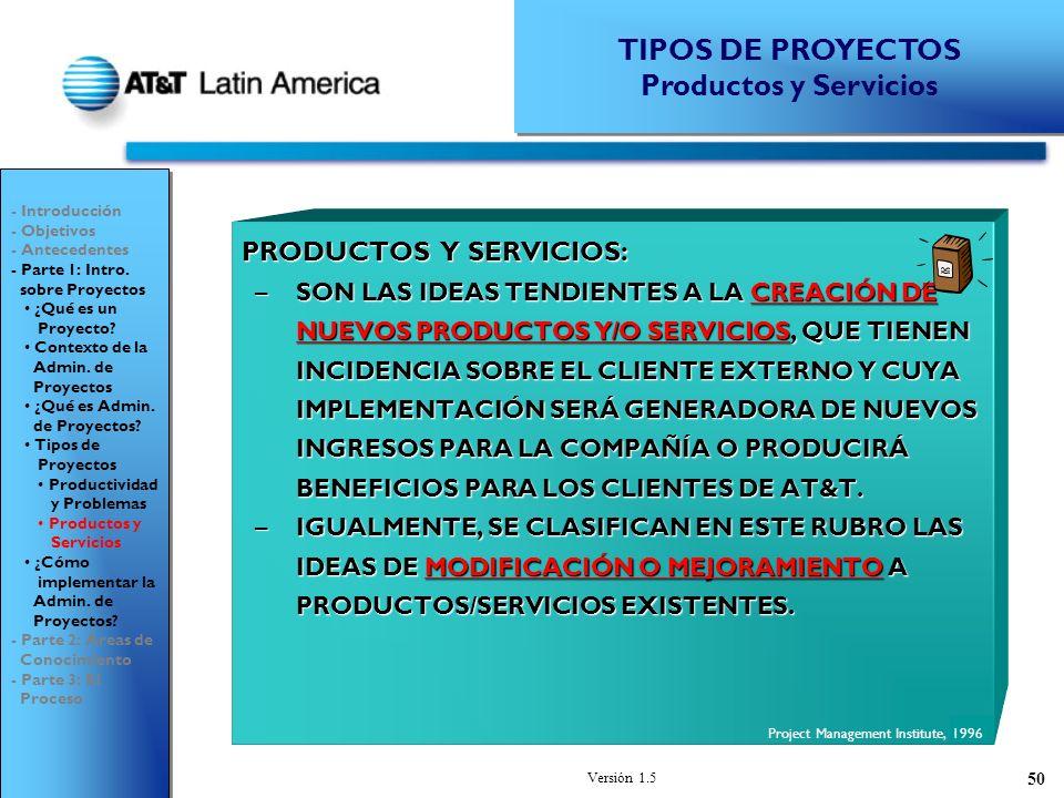 TIPOS DE PROYECTOS Productos y Servicios