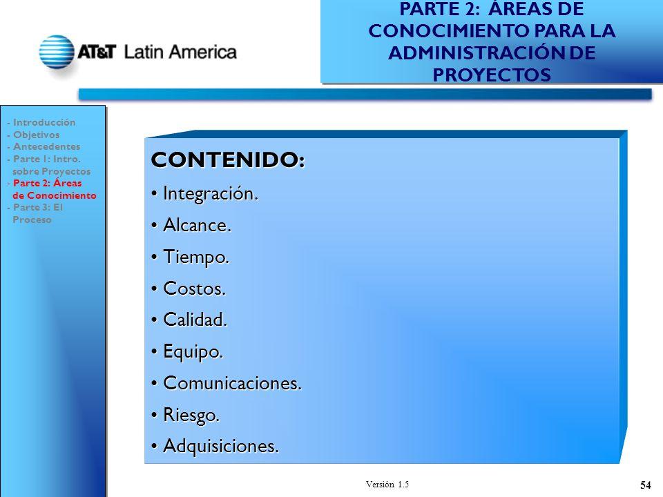 PARTE 2: ÁREAS DE CONOCIMIENTO PARA LA ADMINISTRACIÓN DE PROYECTOS