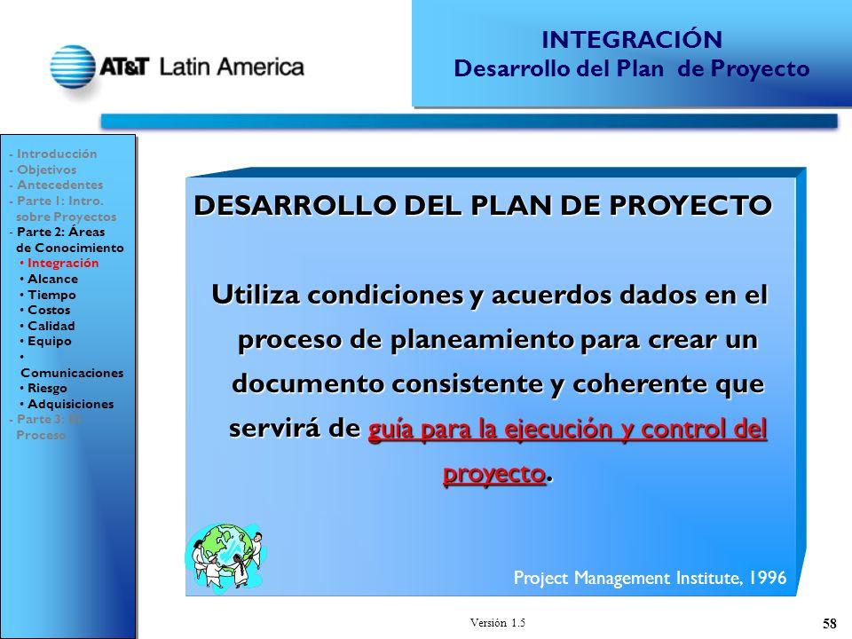 Desarrollo del Plan de Proyecto