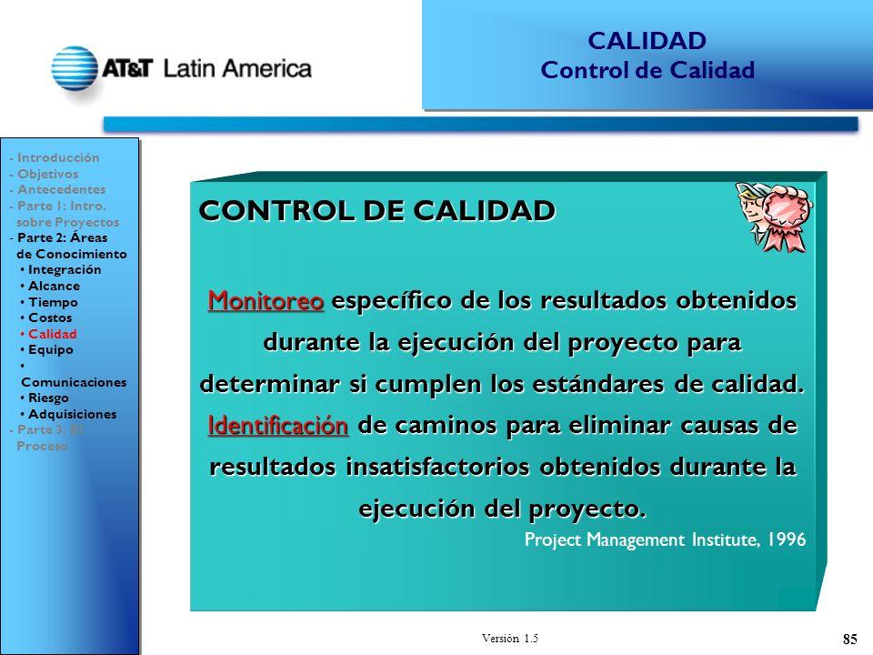 CALIDAD Control de Calidad. - Introducción. - Objetivos. - Antecedentes. - Parte 1: Intro. sobre Proyectos.