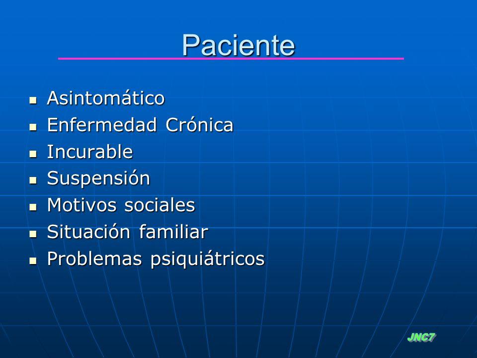 Paciente JNC7 Asintomático Enfermedad Crónica Incurable Suspensión