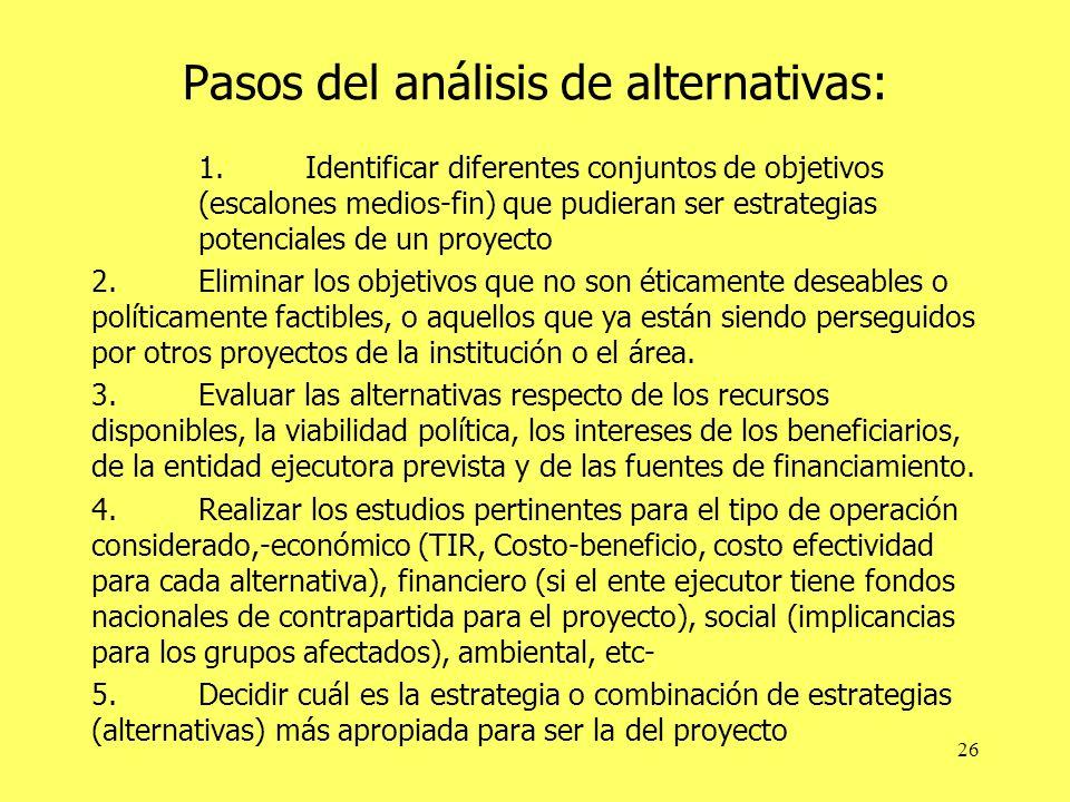 Pasos del análisis de alternativas: