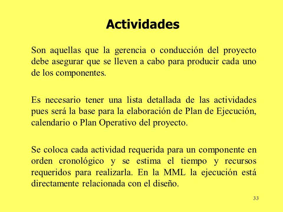 Actividades Son aquellas que la gerencia o conducción del proyecto debe asegurar que se lleven a cabo para producir cada uno de los componentes.
