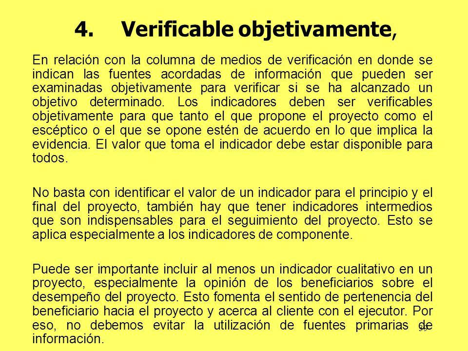 4. Verificable objetivamente,