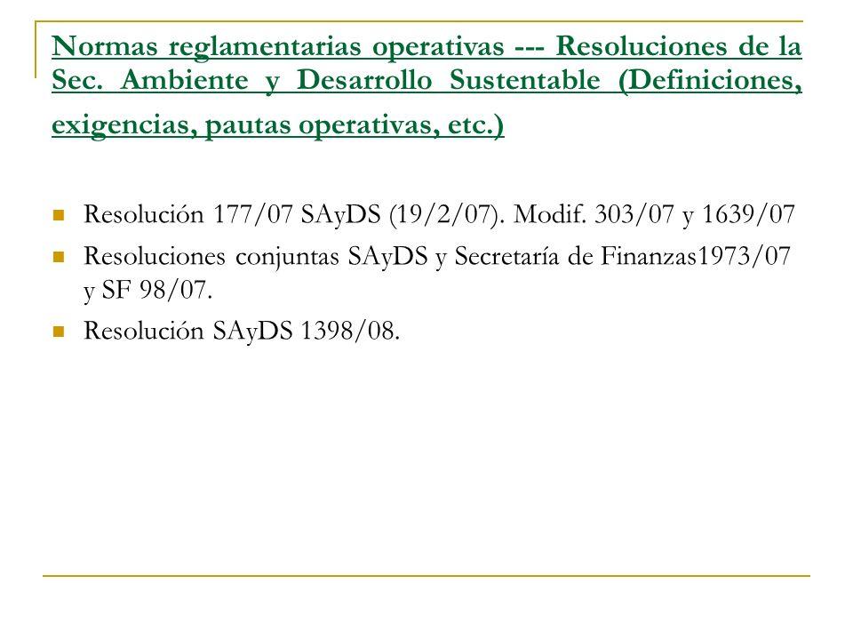 Normas reglamentarias operativas --- Resoluciones de la Sec