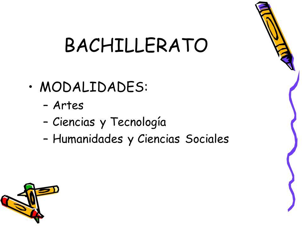 BACHILLERATO MODALIDADES: Artes Ciencias y Tecnología