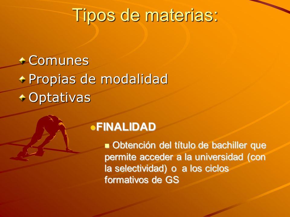 Tipos de materias: Comunes Propias de modalidad Optativas FINALIDAD