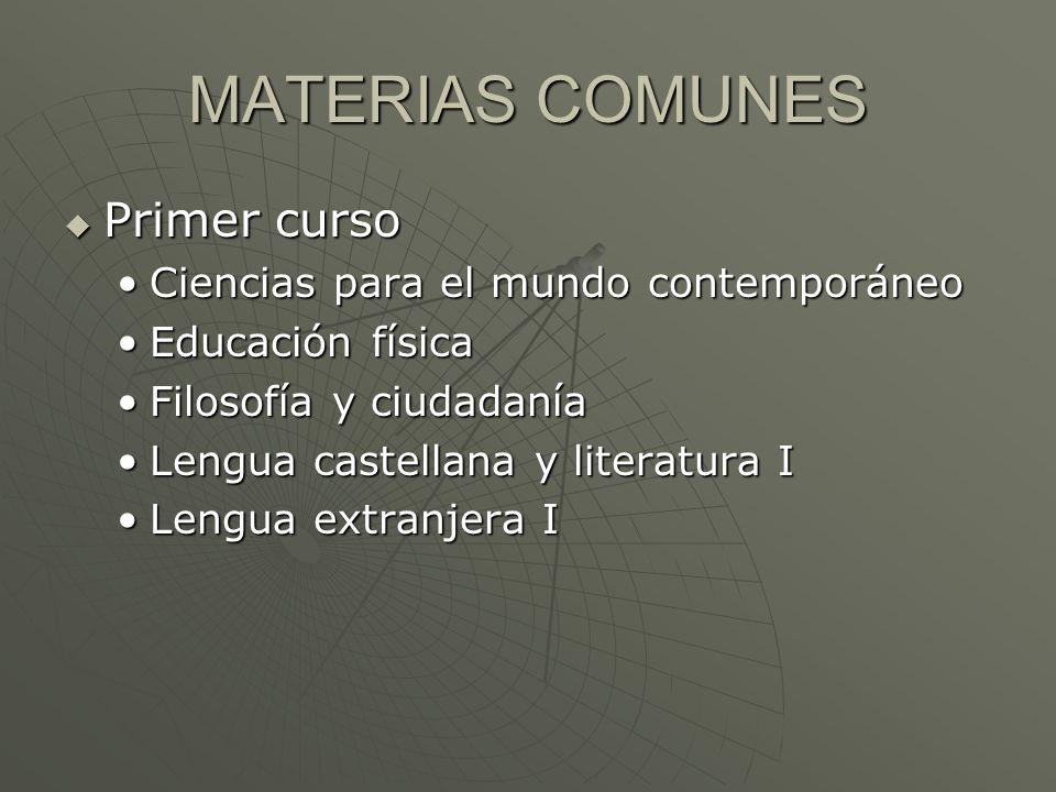 MATERIAS COMUNES Primer curso Ciencias para el mundo contemporáneo