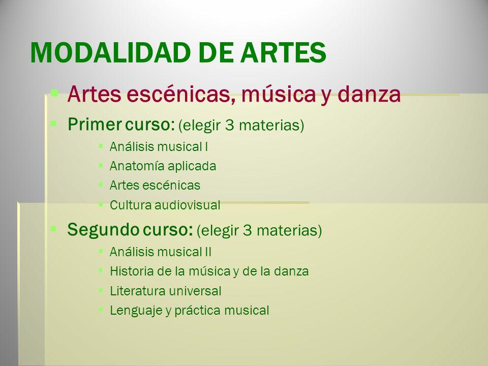 MODALIDAD DE ARTES Artes escénicas, música y danza