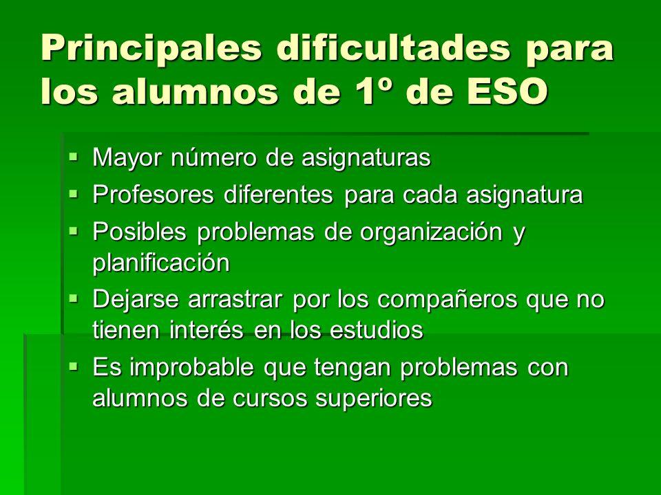 Principales dificultades para los alumnos de 1º de ESO