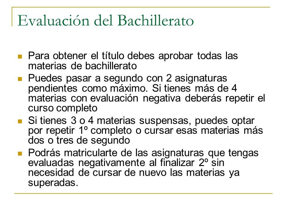 Evaluación del Bachillerato