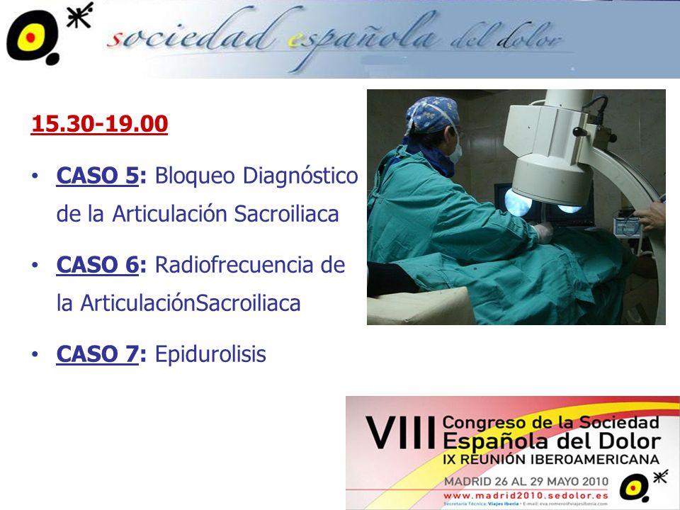 15.30-19.00 CASO 5: Bloqueo Diagnóstico de la Articulación Sacroiliaca. CASO 6: Radiofrecuencia de la ArticulaciónSacroiliaca.