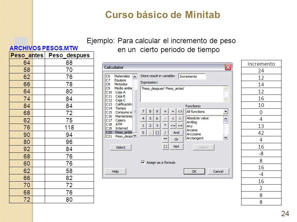 Ejemplo: Para calcular el incremento de peso