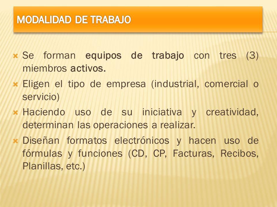 MODALIDAD DE TRABAJO Se forman equipos de trabajo con tres (3) miembros activos. Eligen el tipo de empresa (industrial, comercial o servicio)
