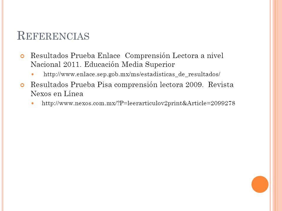 Referencias Resultados Prueba Enlace Comprensión Lectora a nivel Nacional 2011. Educación Media Superior.