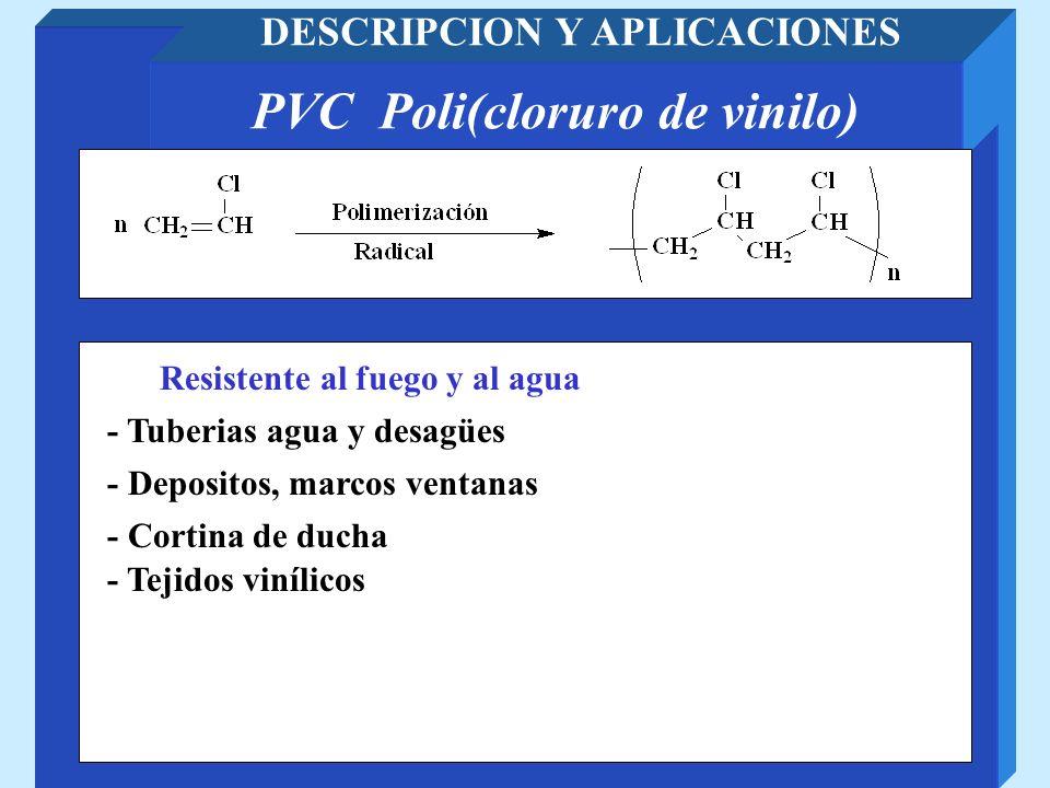 DESCRIPCION Y APLICACIONES PVC Poli(cloruro de vinilo)