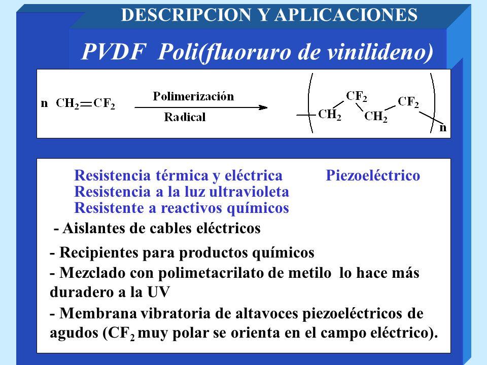 DESCRIPCION Y APLICACIONES PVDF Poli(fluoruro de vinilideno)