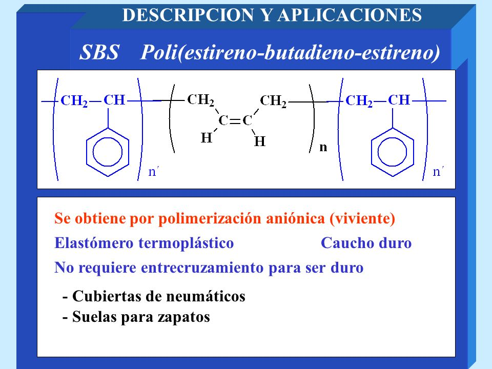 DESCRIPCION Y APLICACIONES SBS Poli(estireno-butadieno-estireno)