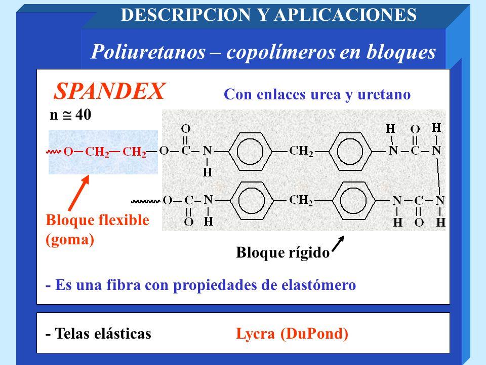 DESCRIPCION Y APLICACIONES Poliuretanos – copolímeros en bloques
