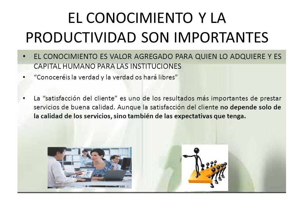 EL CONOCIMIENTO Y LA PRODUCTIVIDAD SON IMPORTANTES
