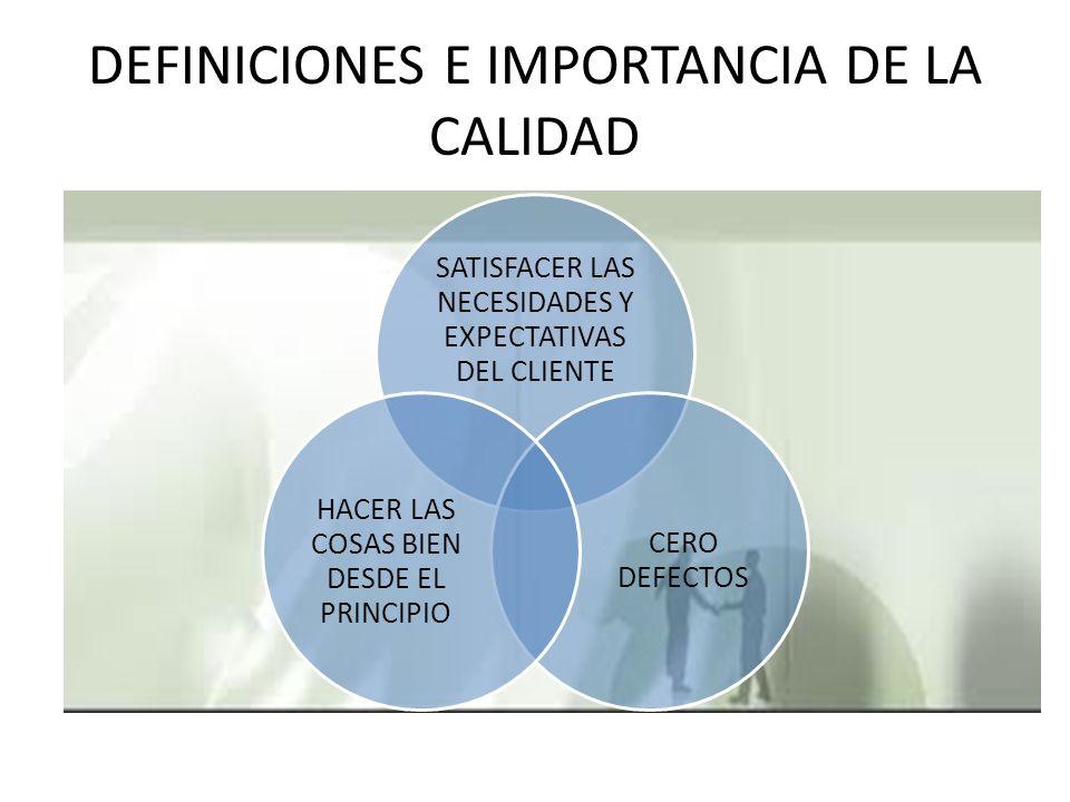 DEFINICIONES E IMPORTANCIA DE LA CALIDAD