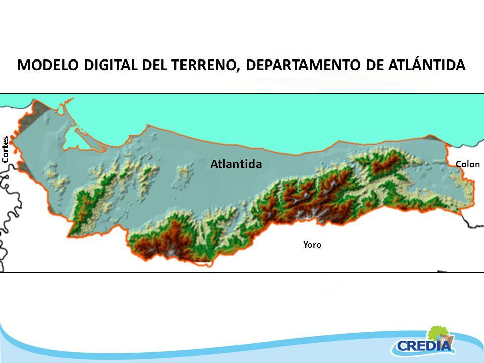 MODELO DIGITAL DEL TERRENO, DEPARTAMENTO DE ATLÁNTIDA