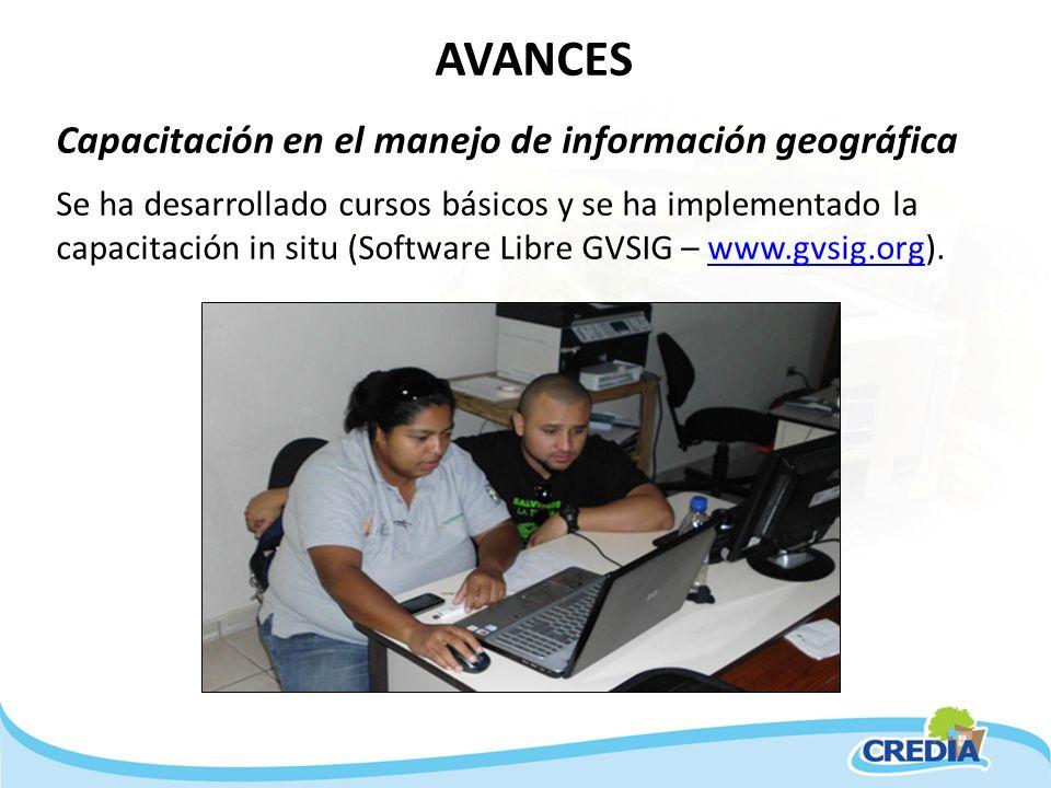 AVANCES Capacitación en el manejo de información geográfica