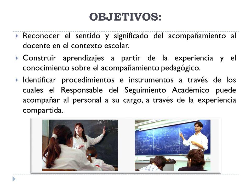 OBJETIVOS: Reconocer el sentido y significado del acompañamiento al docente en el contexto escolar.