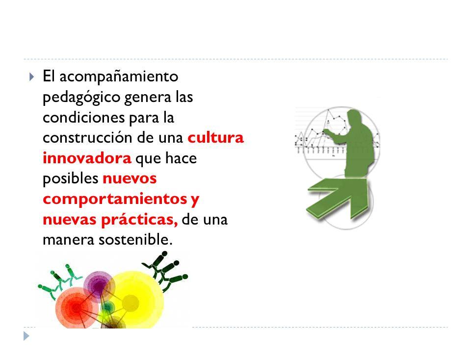 El acompañamiento pedagógico genera las condiciones para la construcción de una cultura innovadora que hace posibles nuevos comportamientos y nuevas prácticas, de una manera sostenible.