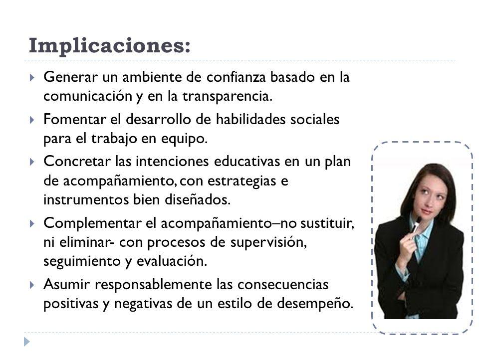 Implicaciones: Generar un ambiente de confianza basado en la comunicación y en la transparencia.
