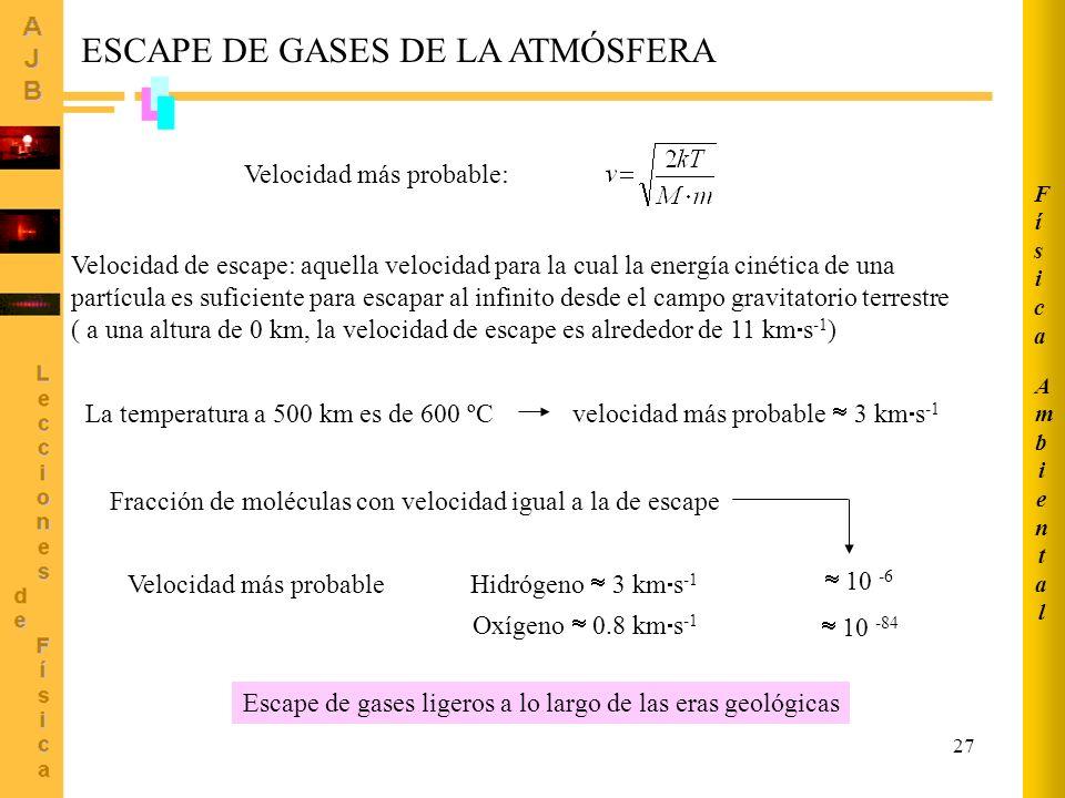 ESCAPE DE GASES DE LA ATMÓSFERA