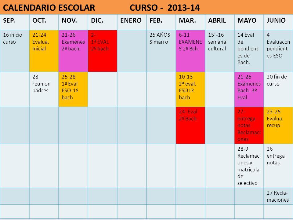 CALENDARIO ESCOLAR CURSO - 2013-14