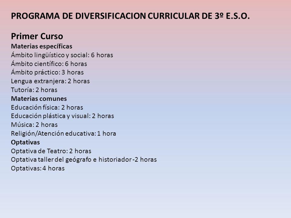 PROGRAMA DE DIVERSIFICACION CURRICULAR DE 3º E.S.O. Primer Curso