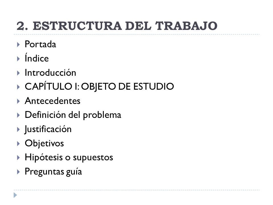 2. ESTRUCTURA DEL TRABAJO
