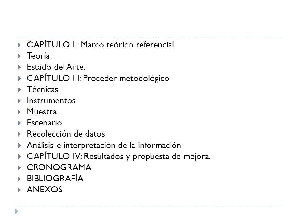 CAPÍTULO II: Marco teórico referencial