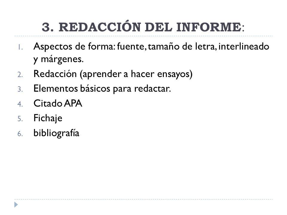 3. REDACCIÓN DEL INFORME: