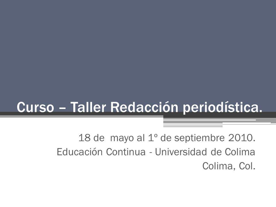 Curso – Taller Redacción periodística.