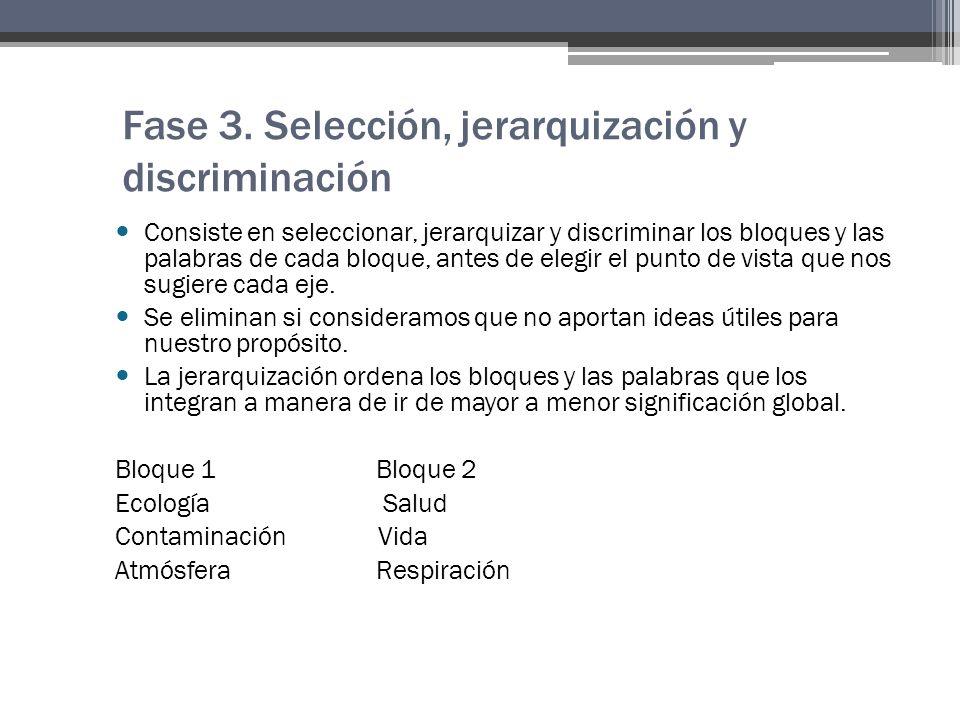 Fase 3. Selección, jerarquización y discriminación