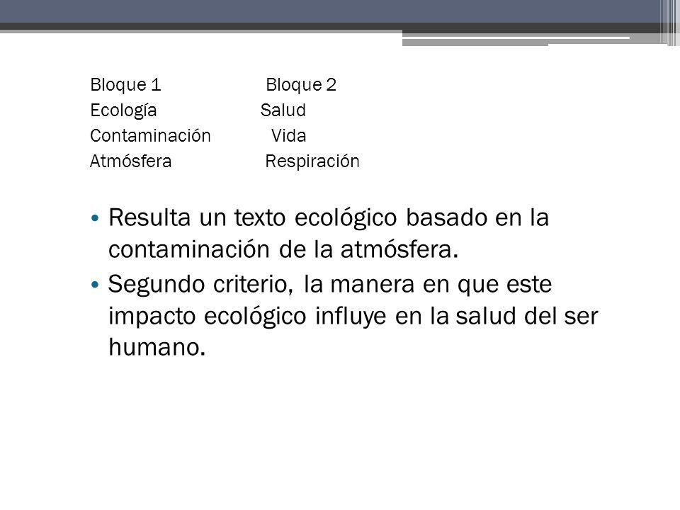 Resulta un texto ecológico basado en la contaminación de la atmósfera.