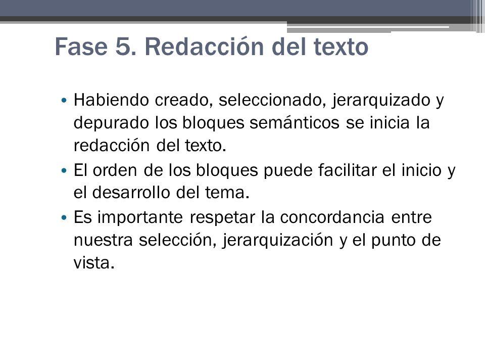 Fase 5. Redacción del texto