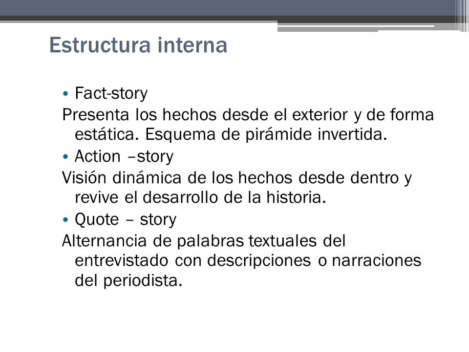 Estructura interna Fact-story